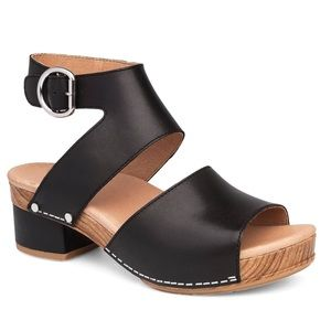 Dansko Minka Black Leather Buckle Open Toe Sandal